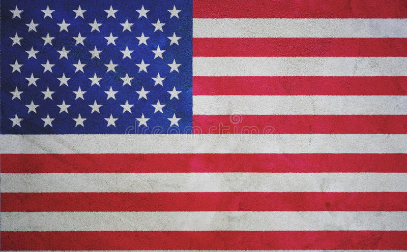 USA American Flag. American Flag on cement grungy wall background texture, USA flag royalty free stock photo