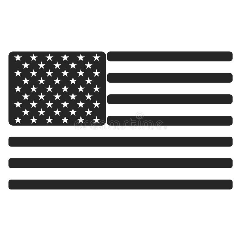 USA American flag icon black and white vector illustration