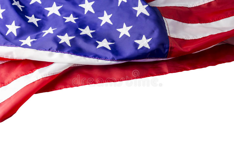 USA or american flag isolated on white background royalty free stock photo