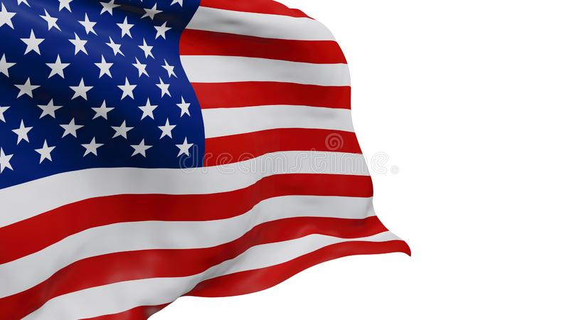 USA or American flag isolated on white background with clipping path 3D render vector illustration
