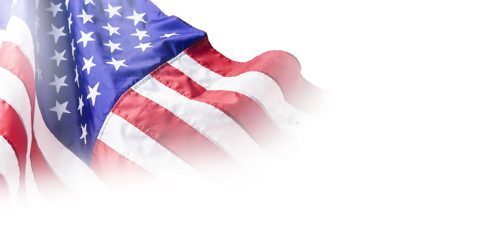 USA or american flag isolated on white background. With copy space royalty free stock images