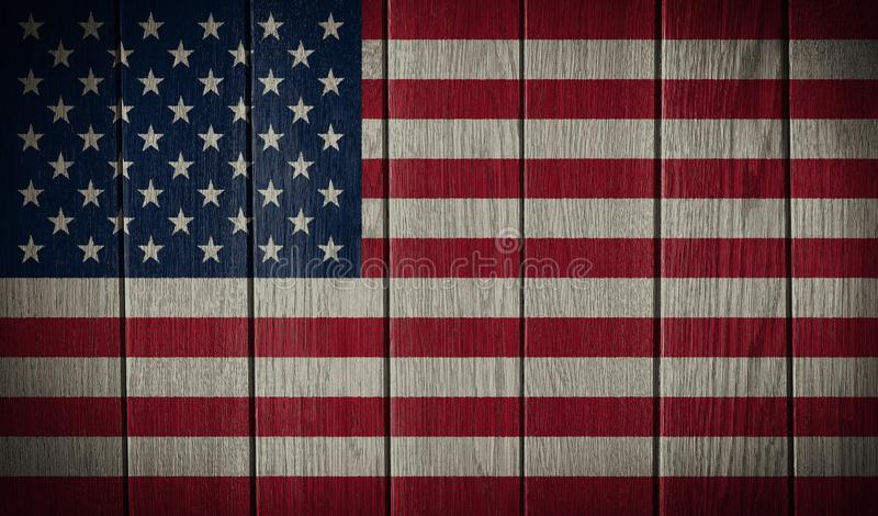 USA, American flag. Painted on old wood plank background stock photo