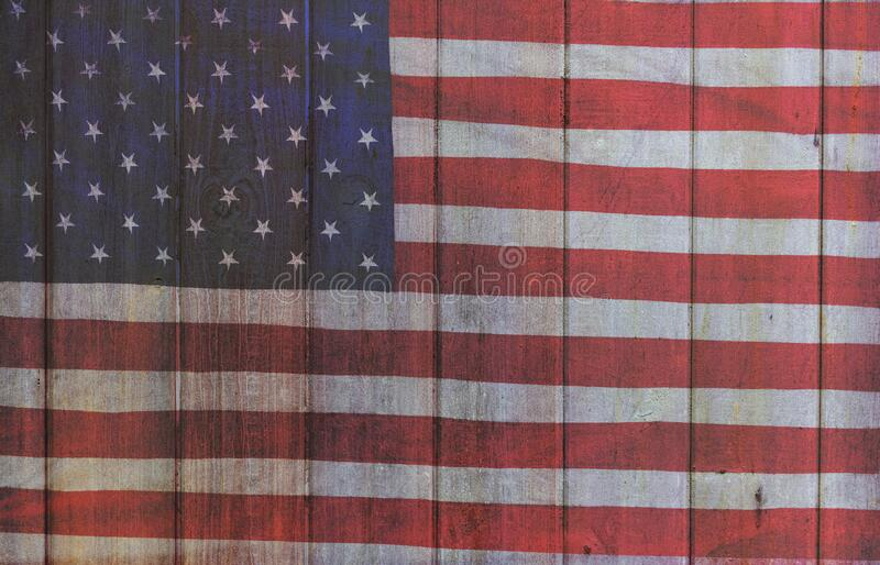 USA American Flag and Painted Wood Planks Background royalty free stock photo