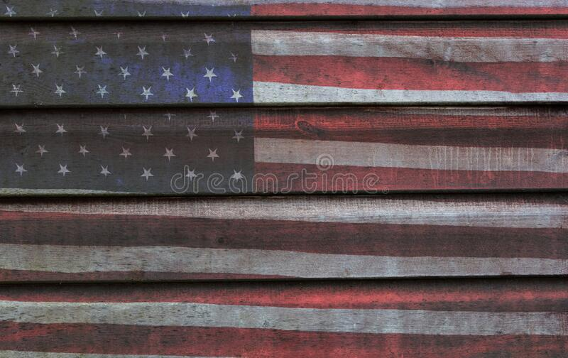 USA American Flag and Painted Wood Planks Background royalty free stock photos