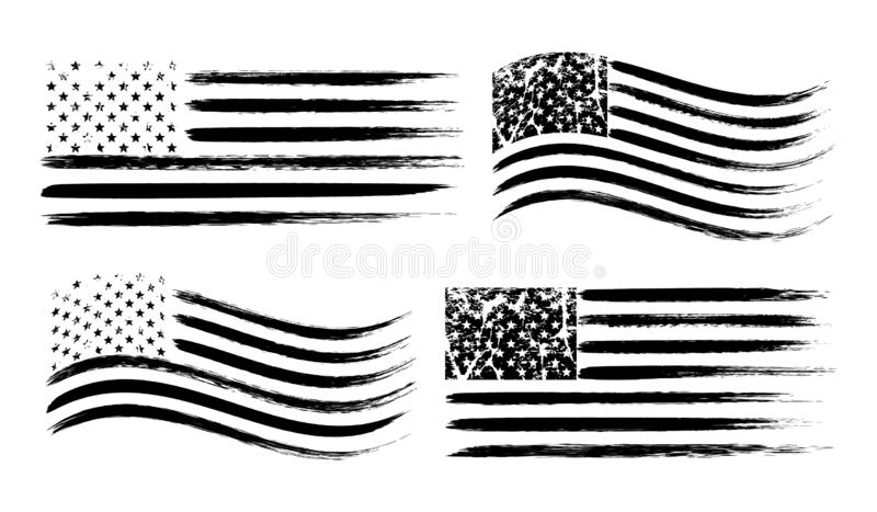 USA American grunge flag set, black isolated on white background, vector illustration. USA American grunge flag set, brush drawing flags, black isolated on vector illustration