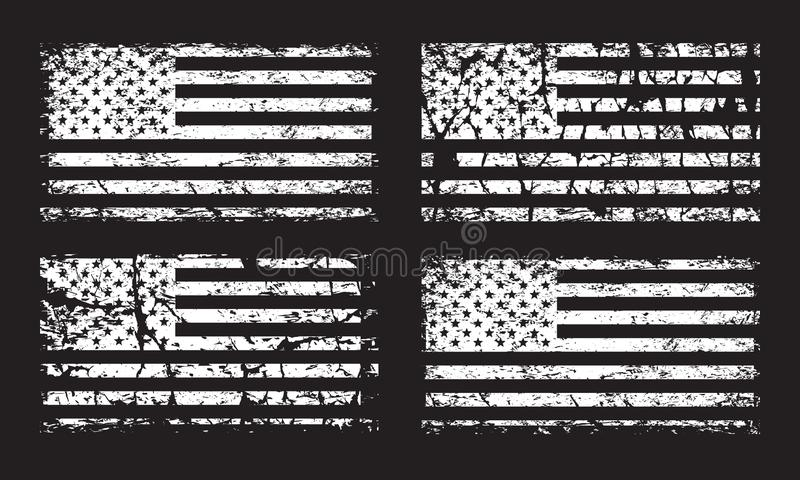 USA American grunge flag set, white isolated on black background, illustration. USA American grunge flag set, old retro US flags, white isolated on black vector illustration