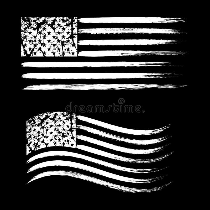 USA American grunge flag set, white isolated on black background, illustration. USA American grunge flag set, retro flags, white isolated on black background vector illustration