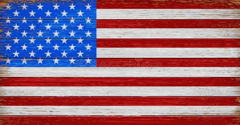 USA amerikanska flaggan målade på gammal wood plankabakgrund royaltyfri illustrationer