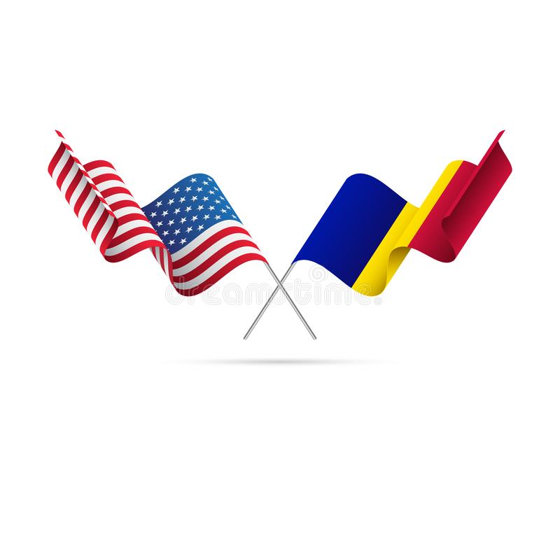 USA and Andorra flags. Vector illustration. USA and Andorra flags. Waving flag vector illustration