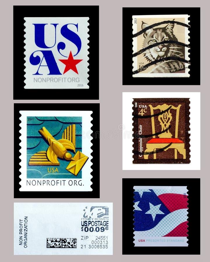 USA använda portostämpelsamlingar stock illustrationer