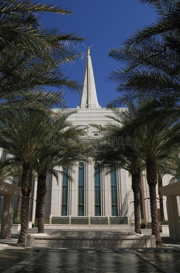 USA, Arizona/Gilbert: New Mormon Temple - Oasis in the Desert. The 85,326-square-foot (7,927 m2) temple was designed by the Tempe, Arizona, architectural firm stock photography