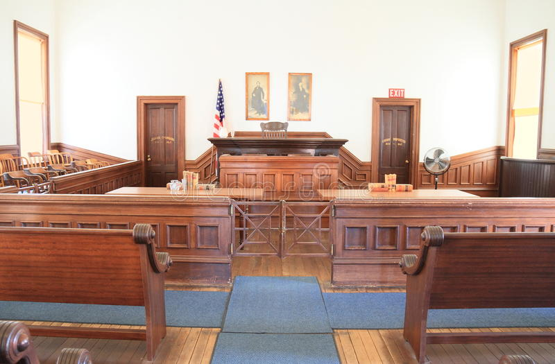USA, Arizona/Tombstone: Old West - Courtroom. This courtroom is one of many exhibits in Tombstone Courthouse State Historic Park. The Courthouse was built in royalty free stock photography
