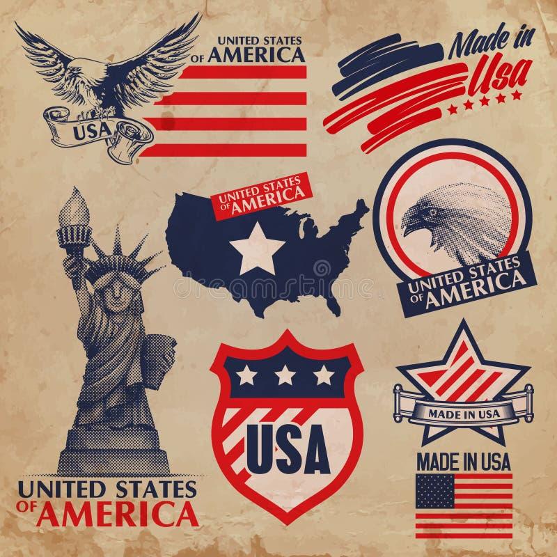 USA-Aufkleber lizenzfreie abbildung