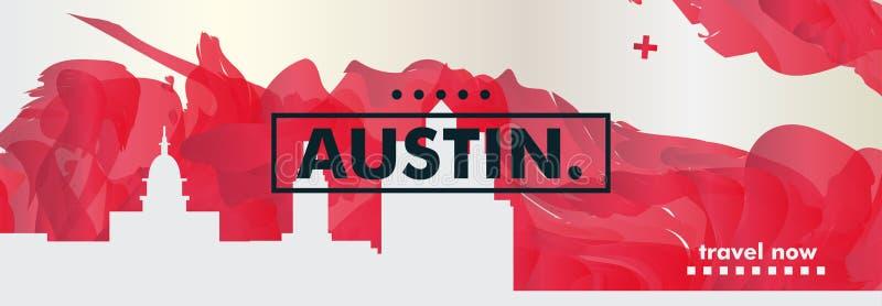 USA Austin linii horyzontu miasta gradientowy wektorowy sztandar royalty ilustracja