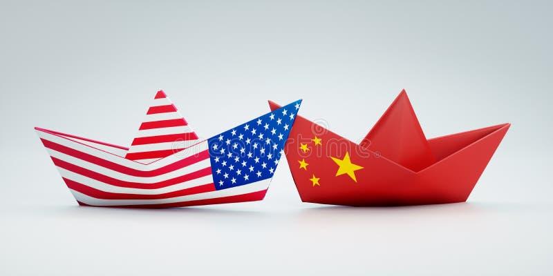 USA av Amerika och kinesiska pappers- fartyg royaltyfri illustrationer