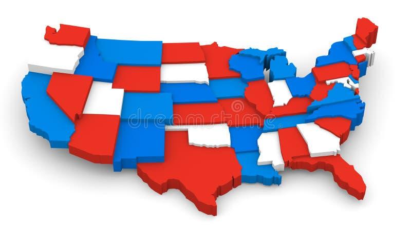 USA avbildar den röda vit- och blåttöversikten 3D royaltyfri illustrationer