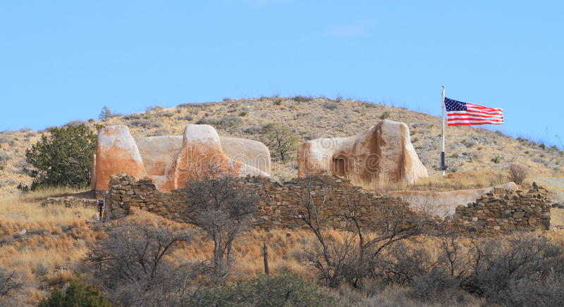 USA, AZ: Old West - Ruins of Fort Bowie/Store. Fort Bowie is located between the Dos Cabezas and Chiricahua Mountains in southern Arizona, where the Chiricahua stock photos