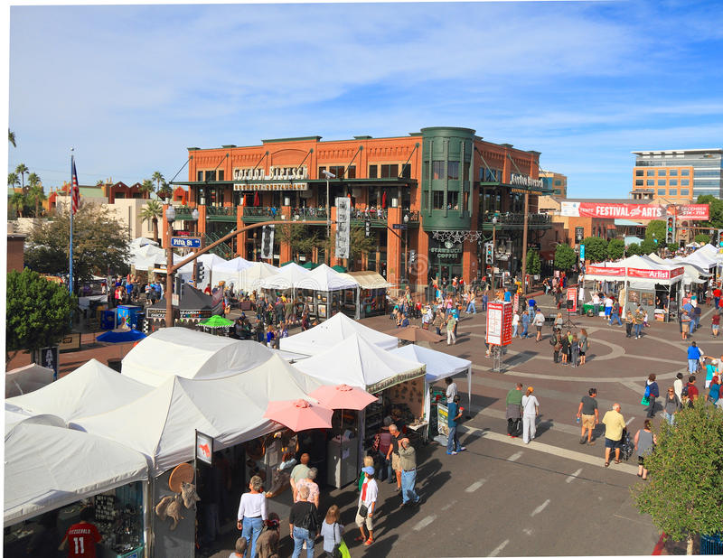 USA, AZ/Tempe: Mill Avenue With Artist Booths. The Tempe Festival of the Arts (Dec. 5 - 7, 2014) consistently ranks among the top 200 art festivals in the nation royalty free stock photos
