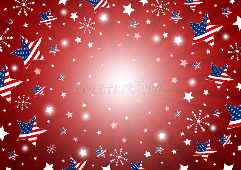 USA background design of america flag in star and fireworks stock illustration