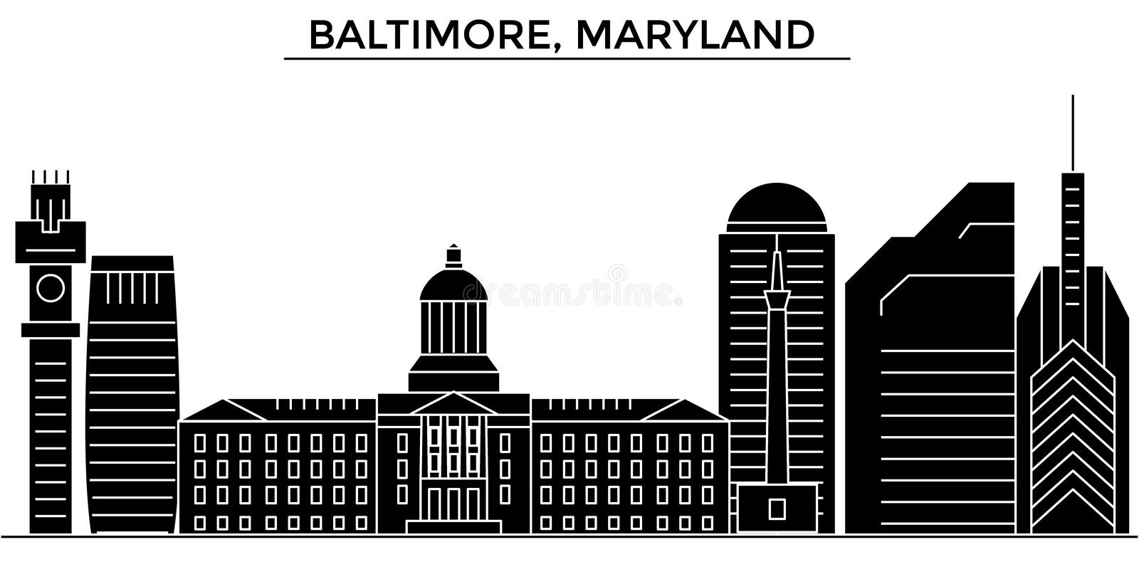 Usa, Baltimore, Maryland architecture vector city skyline, travel cityscape with landmarks, buildings, isolated sights vector illustration