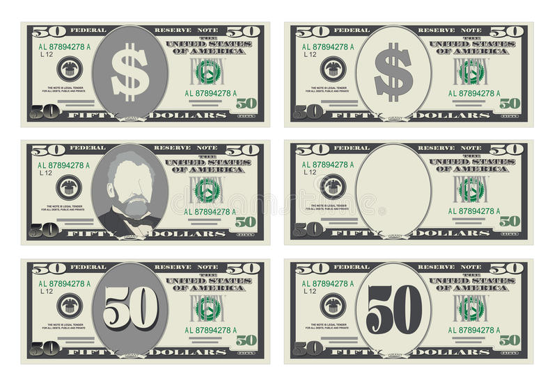 USA banking currency, cash symbol 50 dollars bill. stock illustration