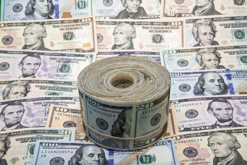 USA banknotów tło i rolka zdjęcia royalty free