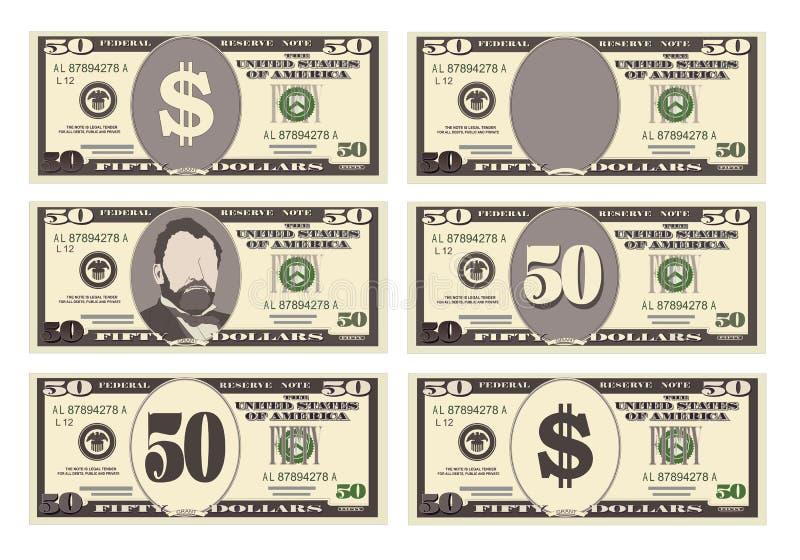 USA bankrörelsevaluta, kontant symbol 50 dollar räkning vektor illustrationer