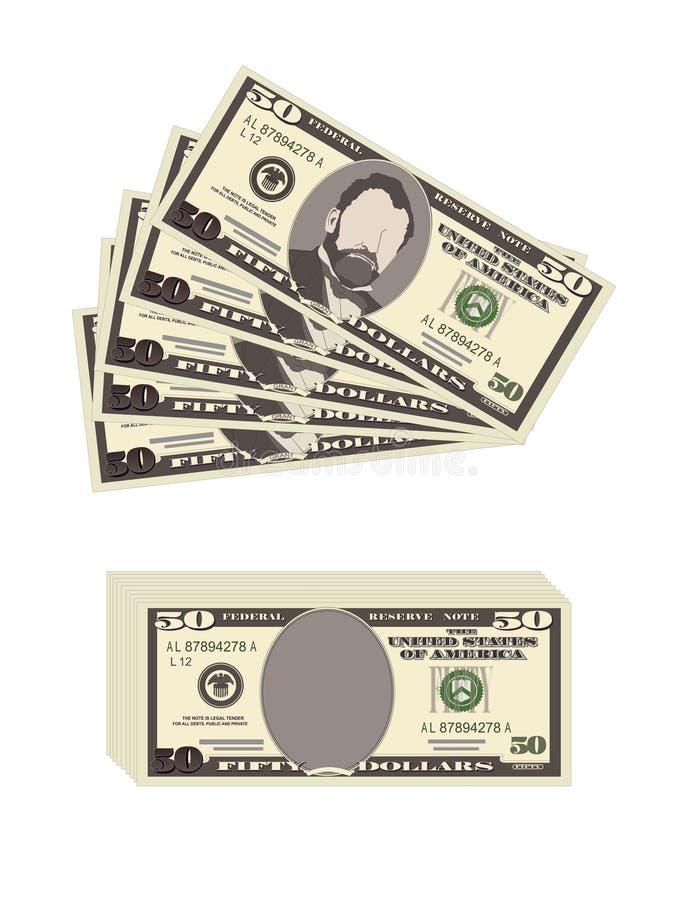 USA bankrörelsevaluta, kontant symbol 50 dollar räkning royaltyfri illustrationer
