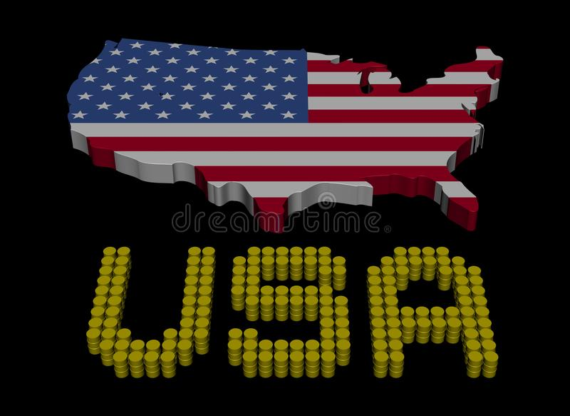 USA barrel text with map flag illustration vector illustration