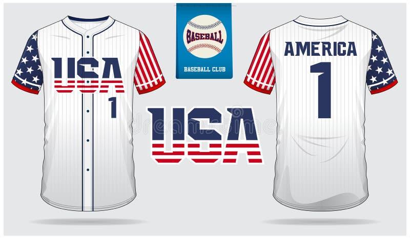 USA Baseball jersey, sport uniform, raglan t-shirt sport, short, sock template. Baseball t-shirt mock up. Front and back view stock illustration