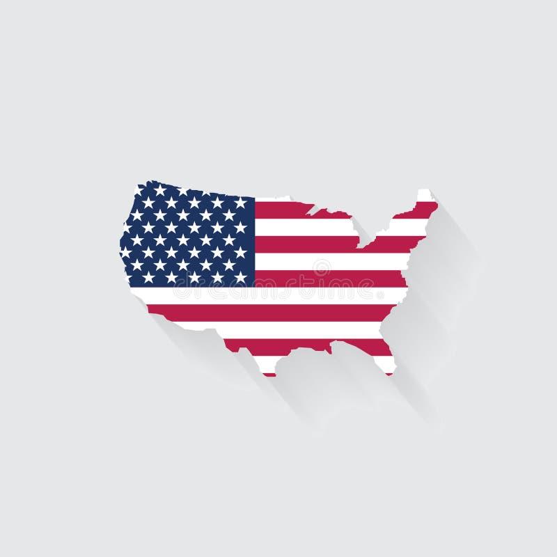 USA begrepp som föreställs av översikts- och flaggasymbolen isolerat och f royaltyfri illustrationer