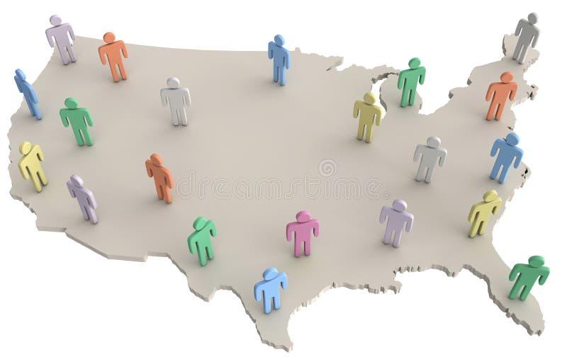 USA-Bevölkerungsleute, die auf Amerika-Karte stehen stock abbildung