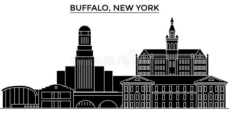 Usa, bizon, Nowy Jork architektury miasta wektorowa linia horyzontu royalty ilustracja