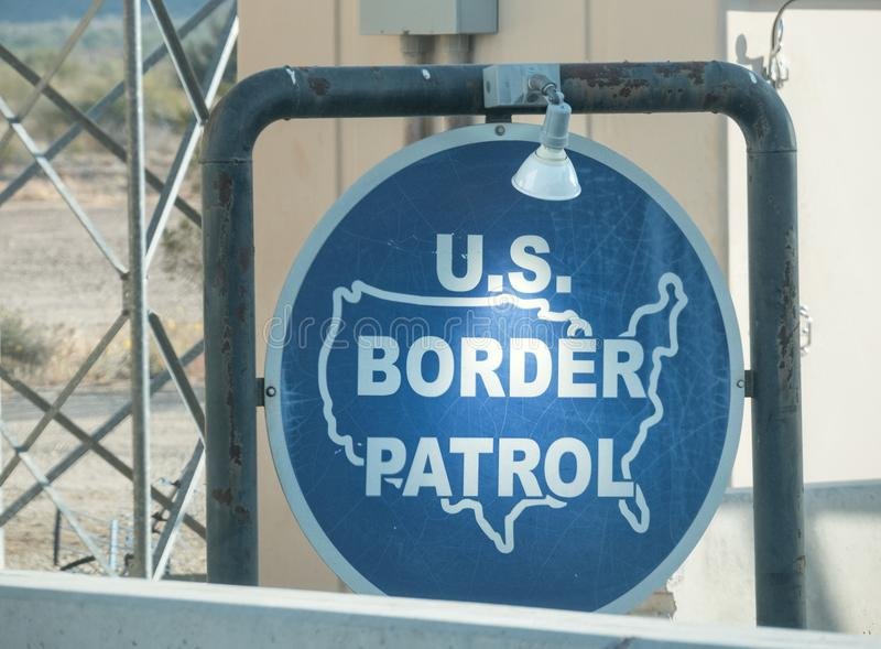 U.S. Border Patrol at the Mexican border. USA Border Patrol sign, entering Arizona from Mexico stock photos