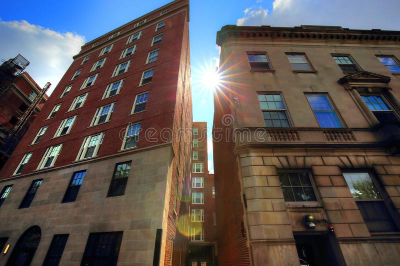 Boston typical houses in historic center stock photography