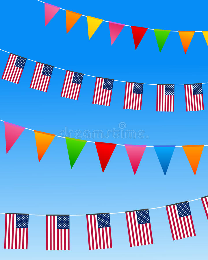USA bunting flags. United States Bunting flags on a blue sky. Vector illustration vector illustration