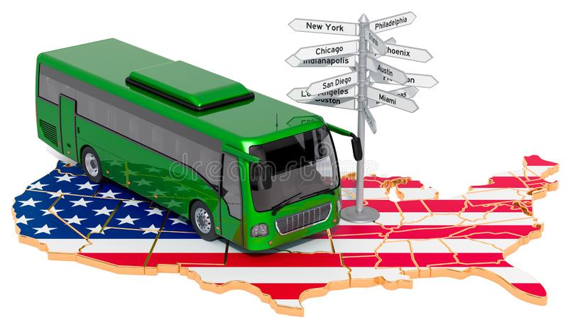 The USA Bus Tours concept. 3D rendering. Isolated on white background vector illustration