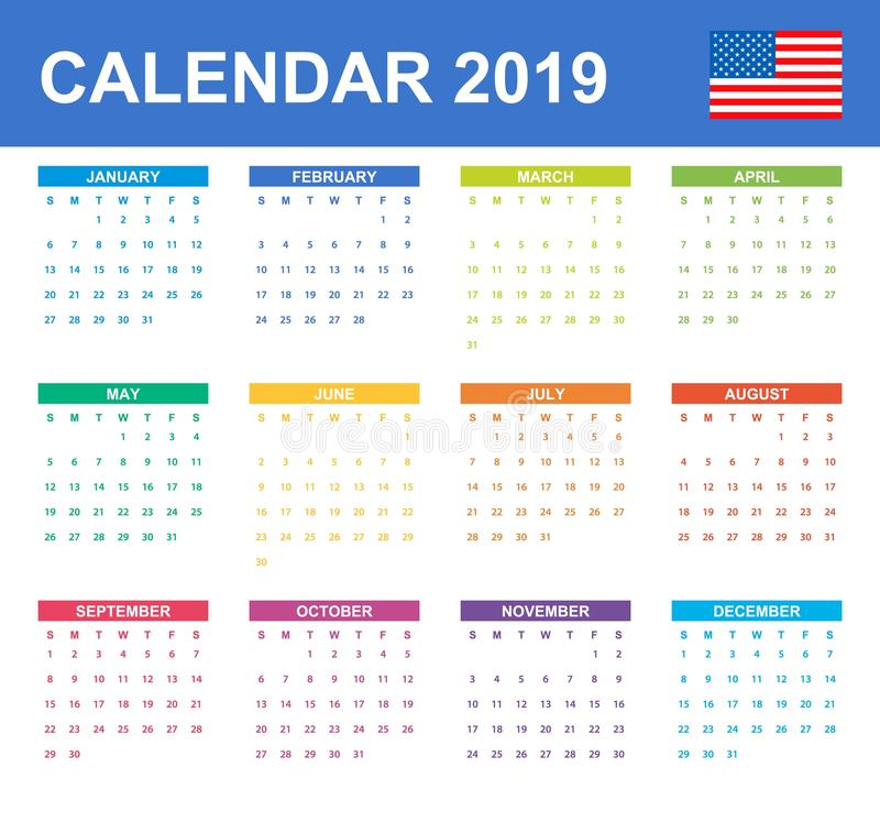 USA Calendar for 2019. Scheduler, agenda or diary template. Week starts on Sunday vector illustration