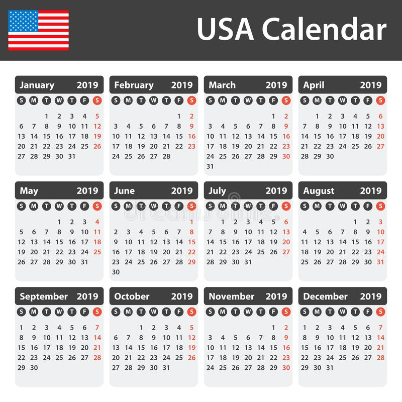 USA Calendar for 2019. Scheduler, agenda or diary template. Week starts on Sunday stock illustration