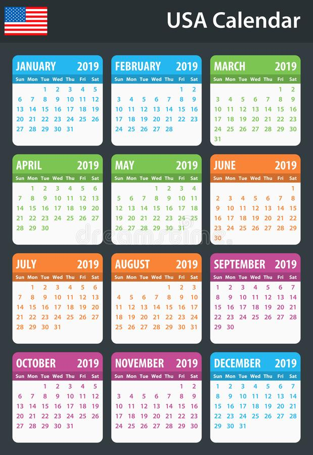 USA Calendar for 2019. Scheduler, agenda or diary template. Week starts on Sunday.  vector illustration