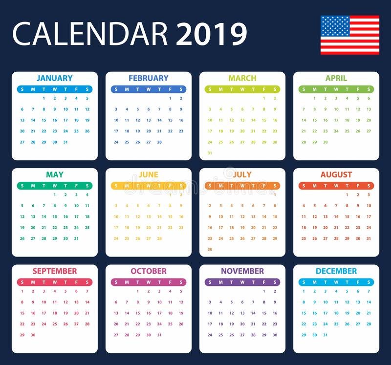 USA Calendar for 2019. Scheduler, agenda or diary template. Week starts on Sunday.  stock illustration