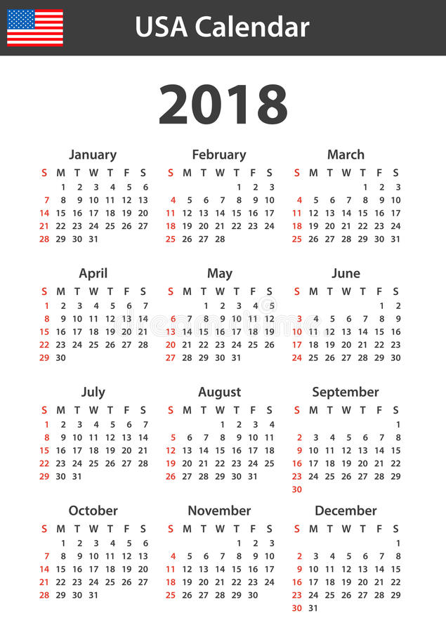 USA Calendar for 2018. Scheduler, agenda or diary template. Week starts on Sunday.  vector illustration