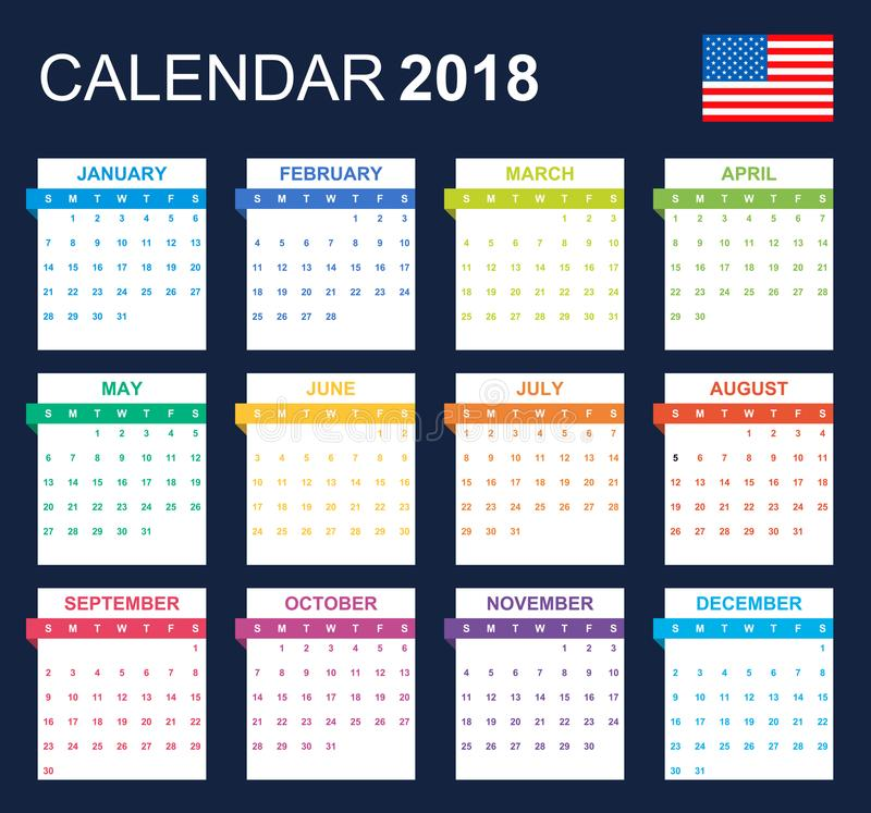 USA Calendar for 2018. Scheduler, agenda or diary template. Week starts on Sunday.  royalty free illustration