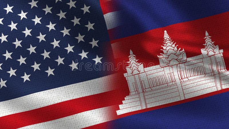 Usa and Cambodia Realistic Half Flags Together vector illustration