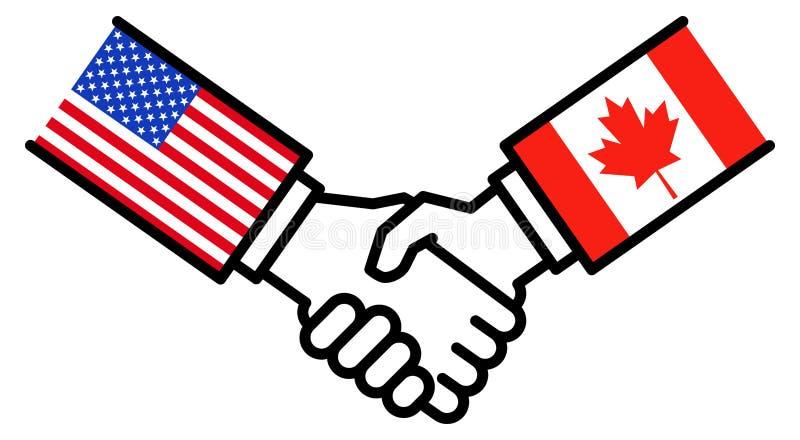 USA CANADA business deal, trade agreement, USMCA, CUSMA, handshake, concept, graphic royalty free illustration