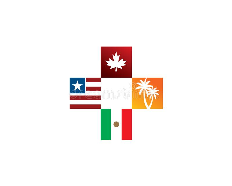 Usa canada mexico country flag in a cross plus sign with palm trees stock illustration