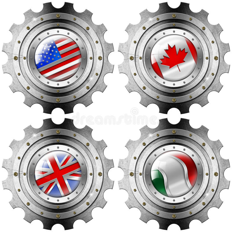 USA Canada UK Italy Gears Metal Flags royalty free illustration