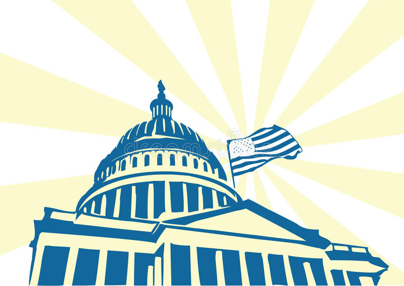 USA Capitol. US Capitol building with star spangled banner and sun rays royalty free illustration