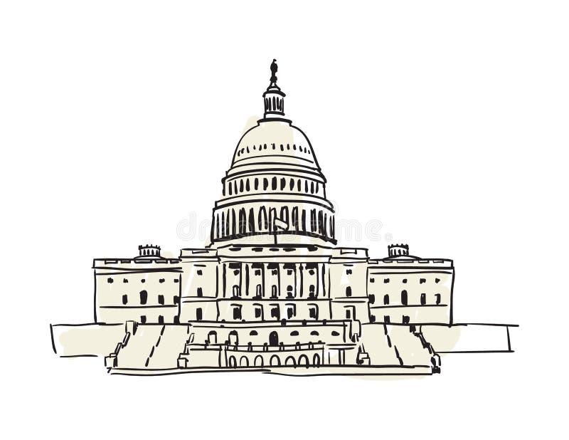 USA Capitol budynek w Waszyngtońska ręka rysującej ikonie ilustracja wektor