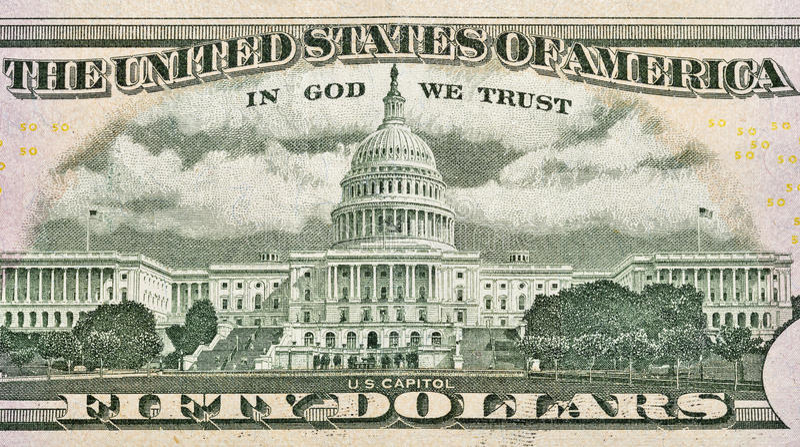 USA Capitol na plecy pięćdziesiąt dolarów rachunków obraz royalty free